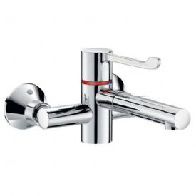 Delabie H9611P SECURITHERM 150mm Centre Wall-Mounted Manual Sink Mixer with Removable BIOCLIP Spout